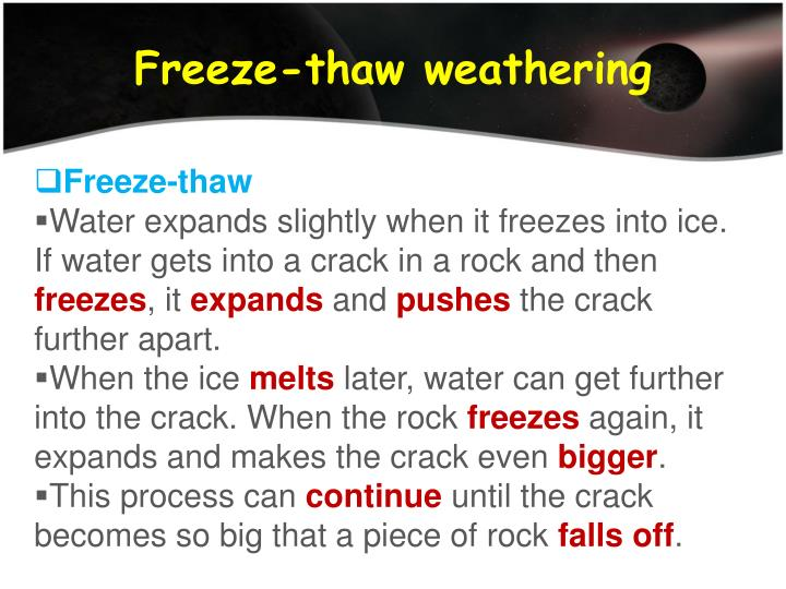 Freeze-thaw weathering