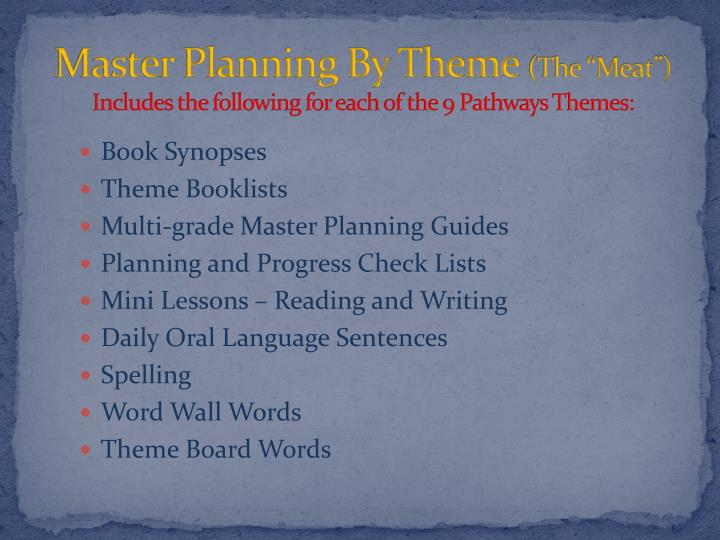 Master Planning By Theme
