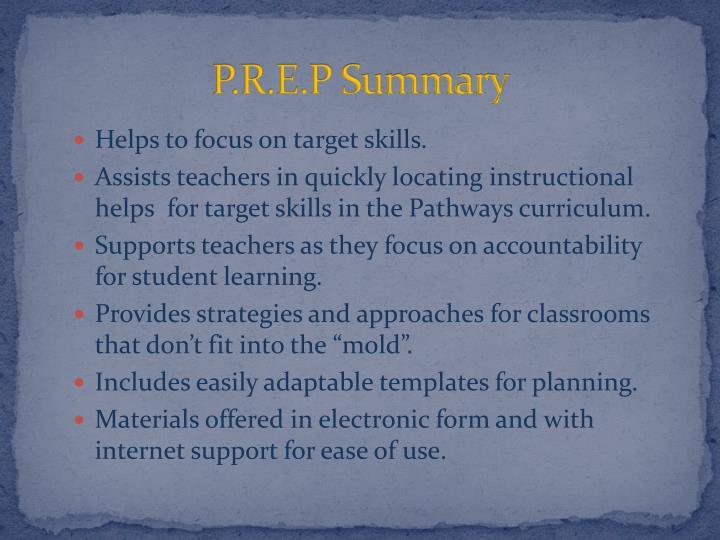 P.R.E.P Summary
