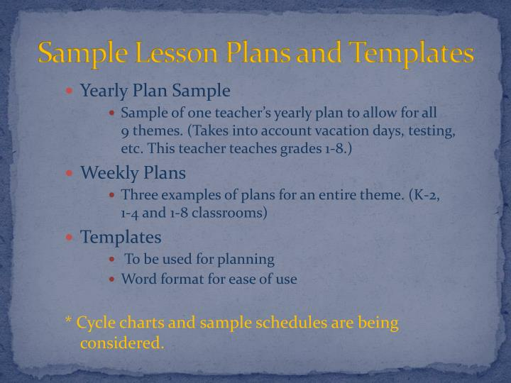Sample Lesson Plans and Templates