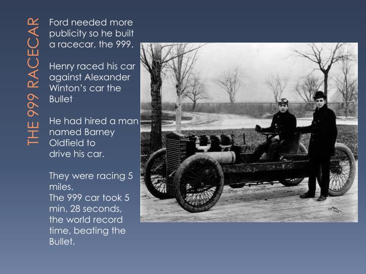 The 999 racecar