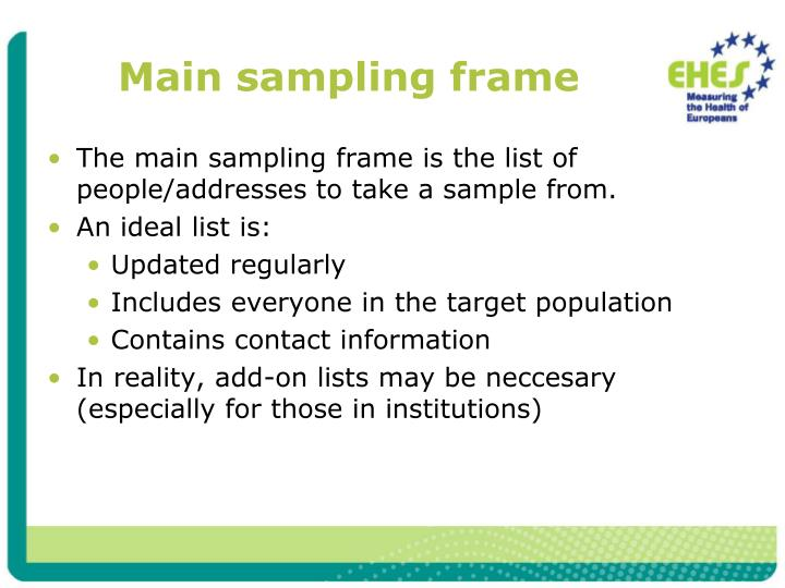 Main sampling frame