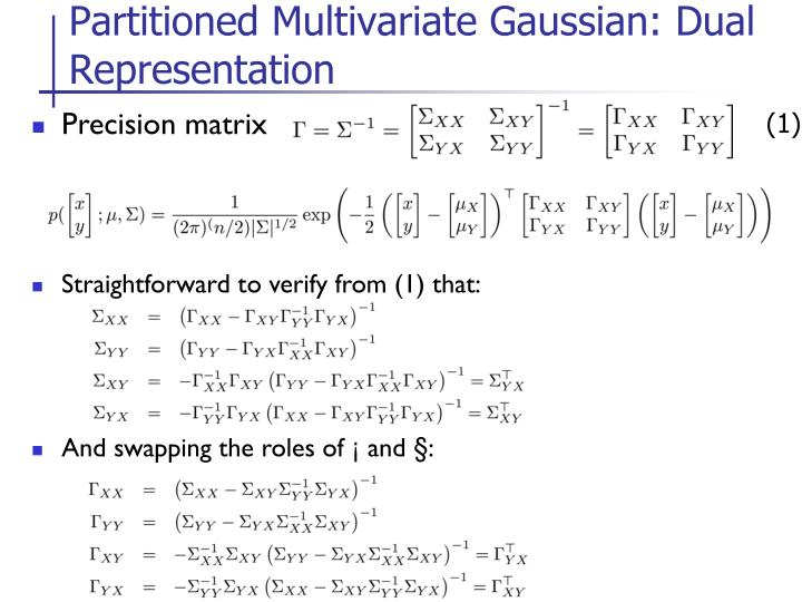 Partitioned Multivariate Gaussian: Dual Representation