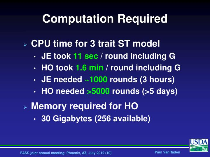 Computation Required