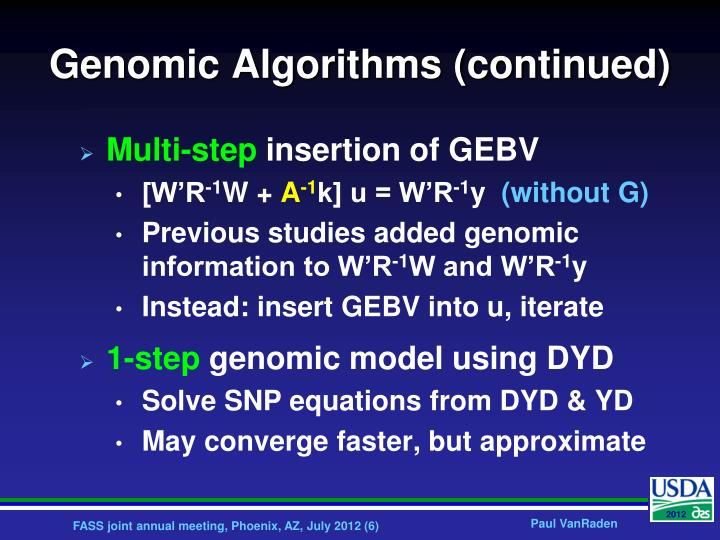 Genomic Algorithms (continued)