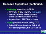 genomic algorithms continued