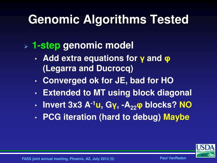 Genomic Algorithms Tested