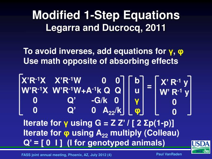 Modified 1-Step Equations