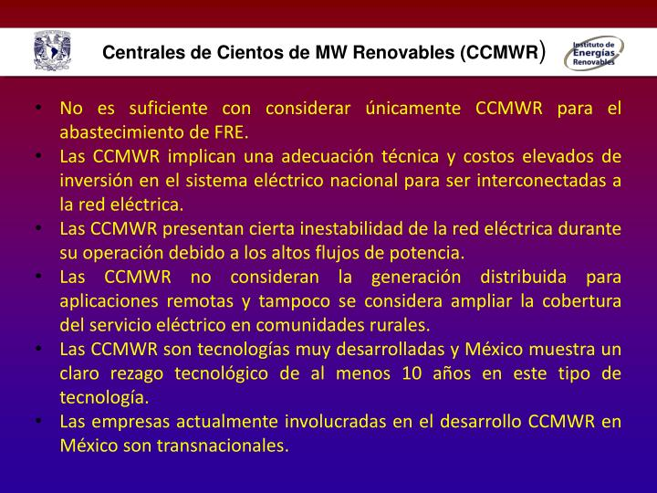 Centrales de Cientos de MW Renovables (CCMWR