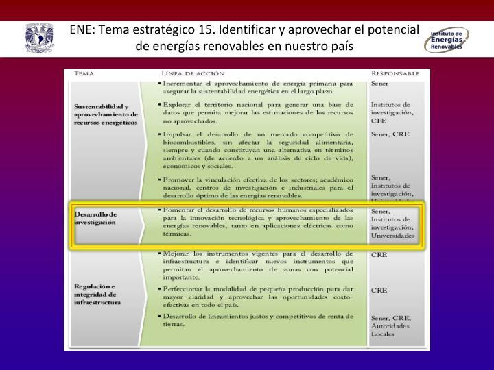 ENE: Tema estratégico 15. Identificar y aprovechar el potencial de energías renovables en nuestro país