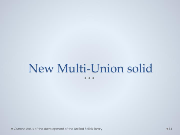 New Multi-Union solid