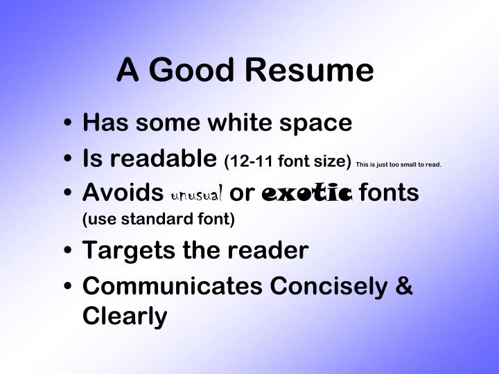 A Good Resume