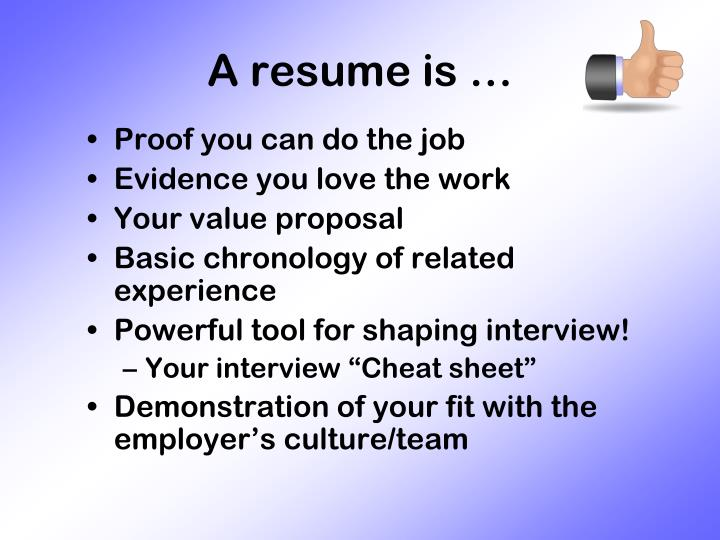 A resume is …
