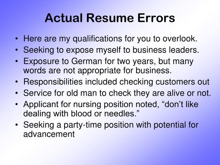 Actual Resume Errors