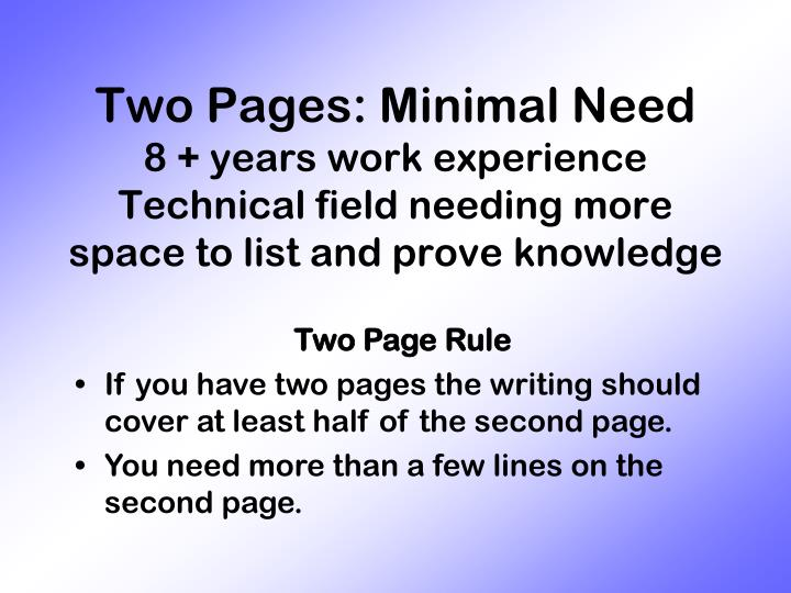 Two Pages: Minimal Need