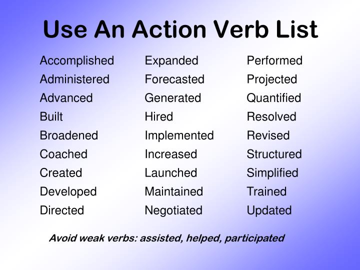 Use An Action Verb List