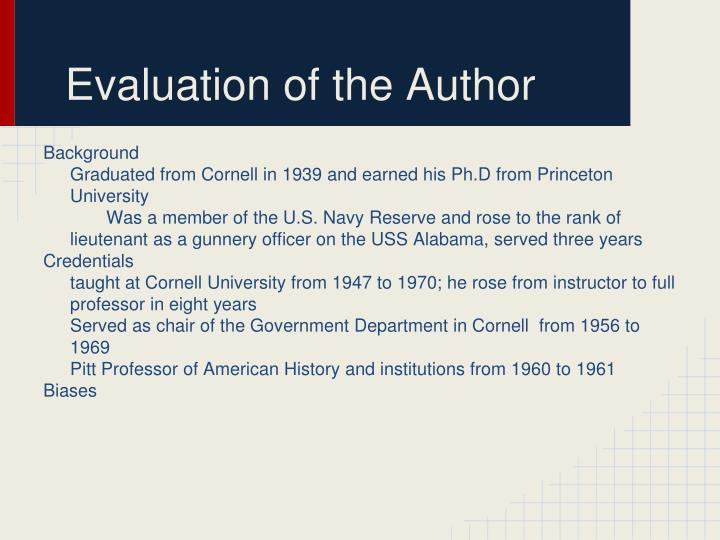 Evaluation of the Author