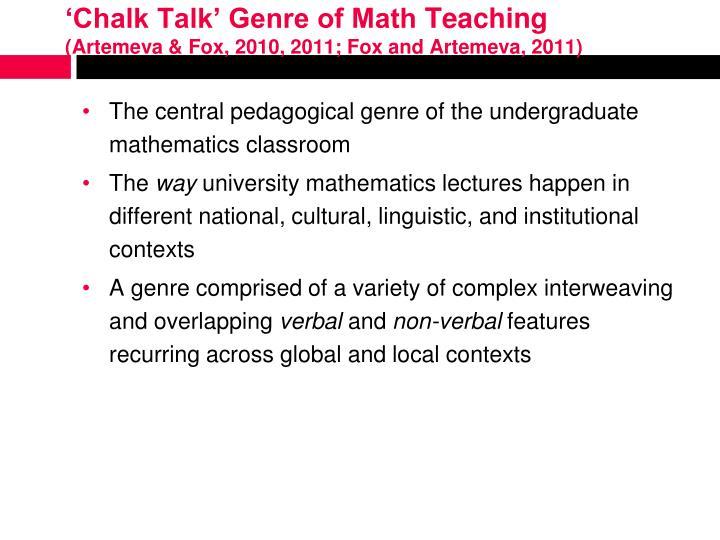 'Chalk Talk' Genre of Math