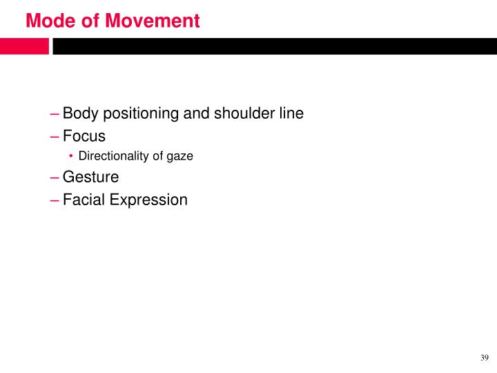 Mode of Movement