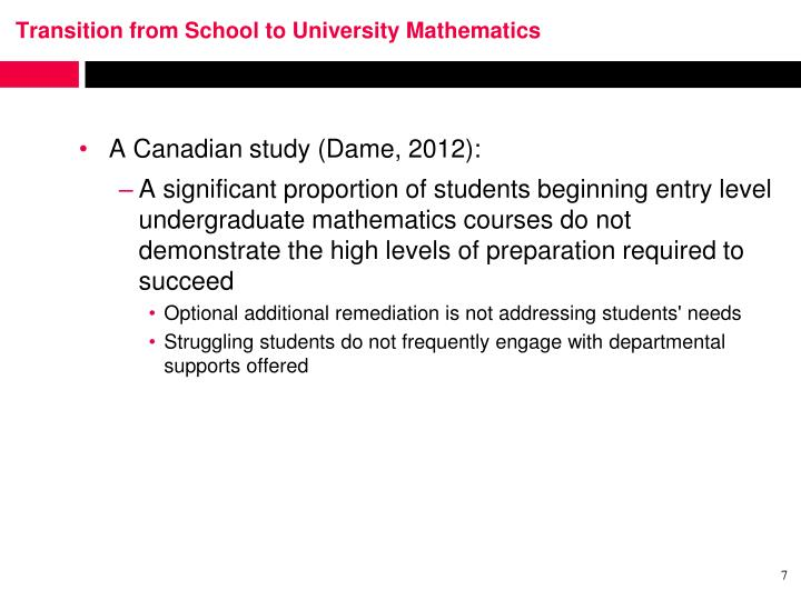 Transition from School to University Mathematics