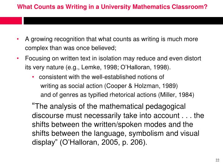 What Counts as Writing in a University Mathematics Classroom?