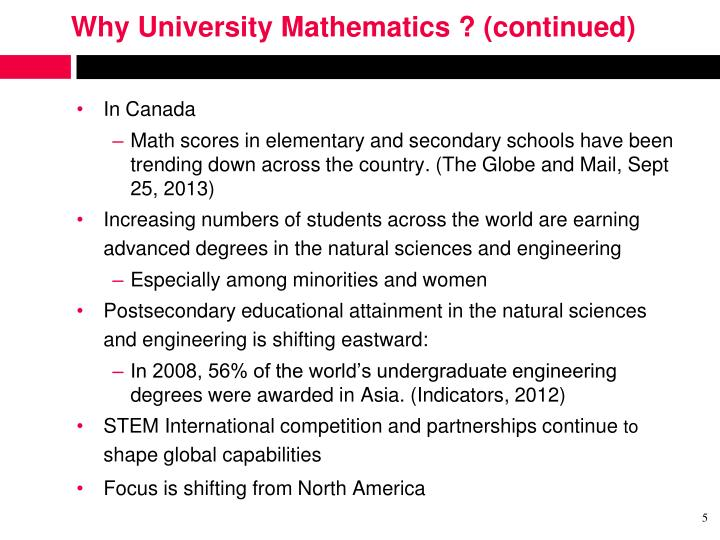 Why University Mathematics ? (continued)