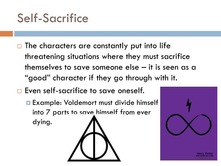 an example of self sacrifice Self-sacrifice definition is - sacrifice of oneself or one's interest for others or for a cause or ideal sacrifice of oneself or one's interest for others or for a cause or ideal see the.