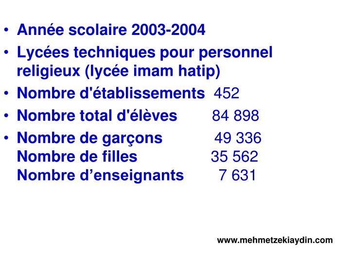 Année scolaire 2003-2004