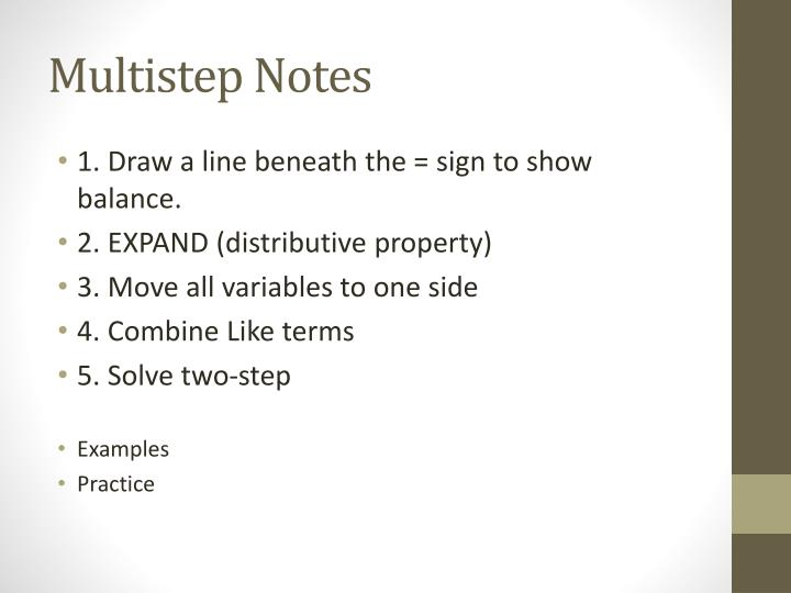 Multistep Notes