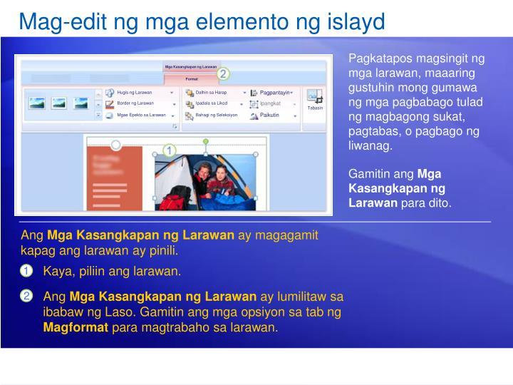 Mag-edit ng mga elemento ng islayd