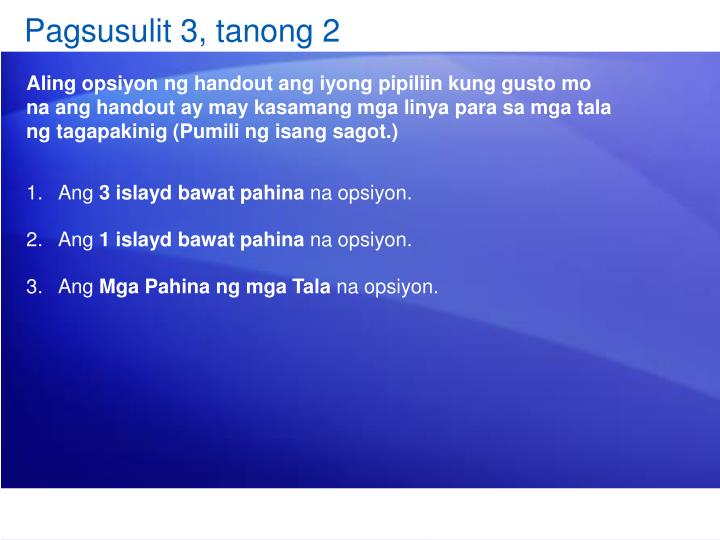 Pagsusulit 3, tanong 2