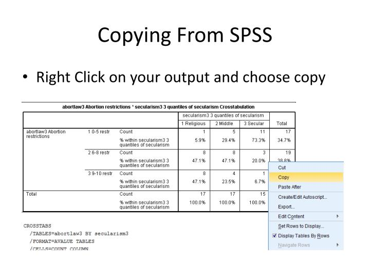 Copying From SPSS