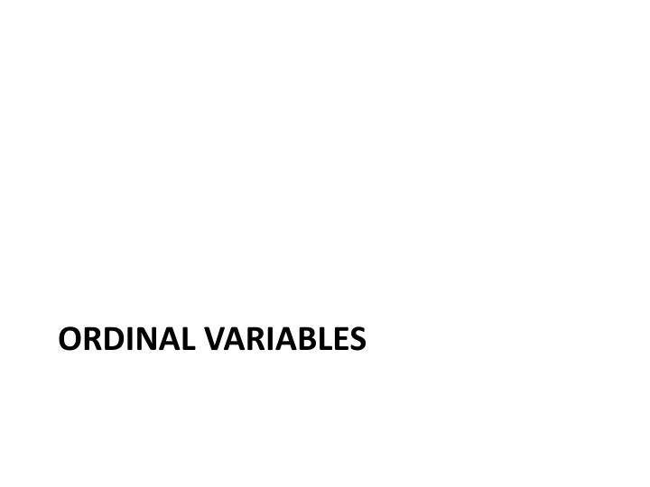 Ordinal Variables