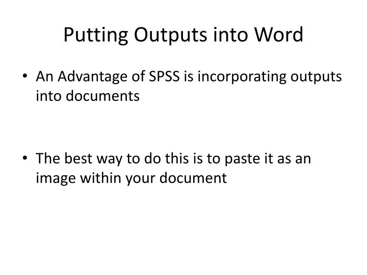 Putting Outputs into Word
