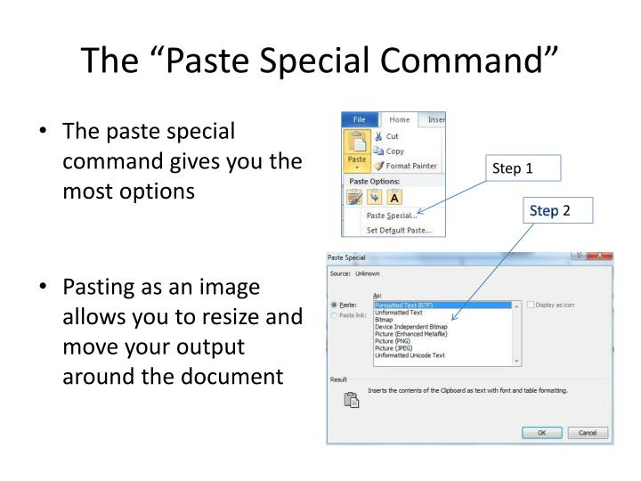 "The ""Paste Special Command"""