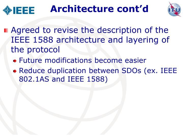 Architecture cont'd