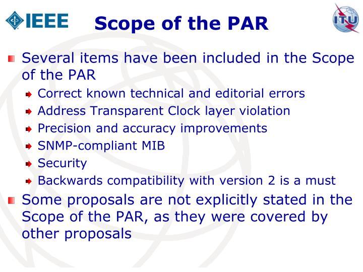 Scope of the PAR