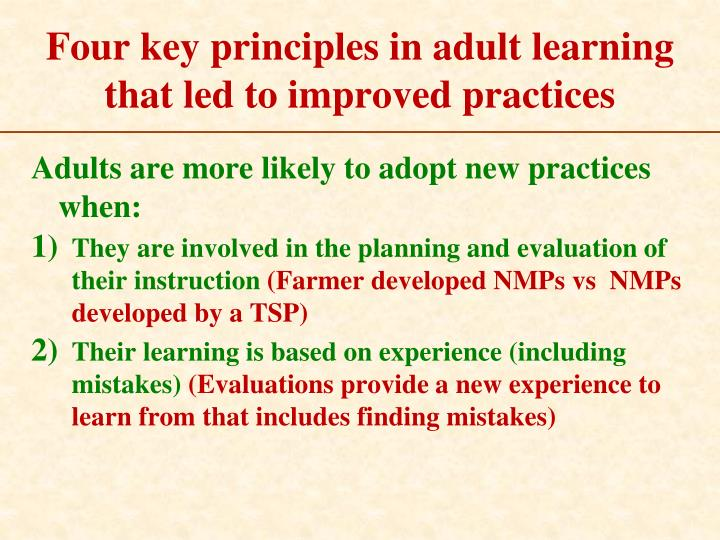 Four key principles in adult learning that led to improved practices