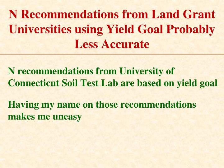 N Recommendations from Land Grant Universities using Yield Goal Probably Less Accurate