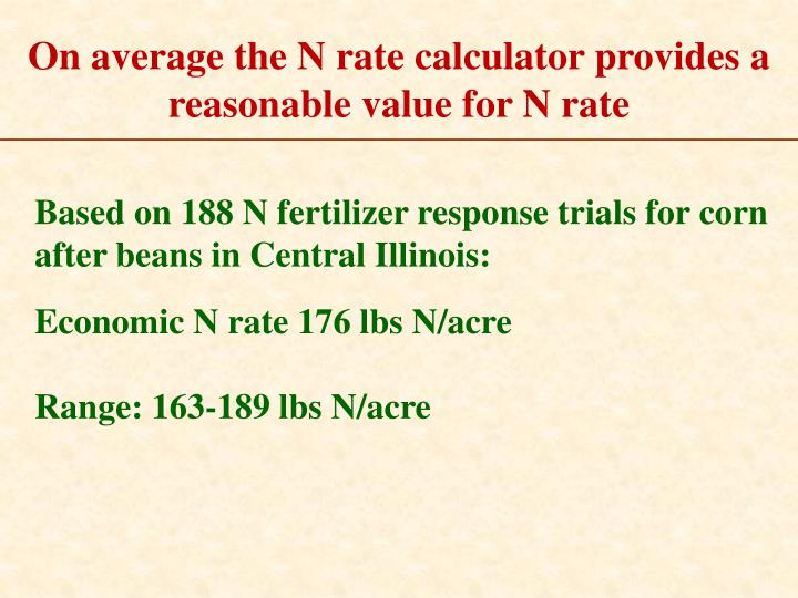 On average the N rate calculator provides a reasonable value for N rate