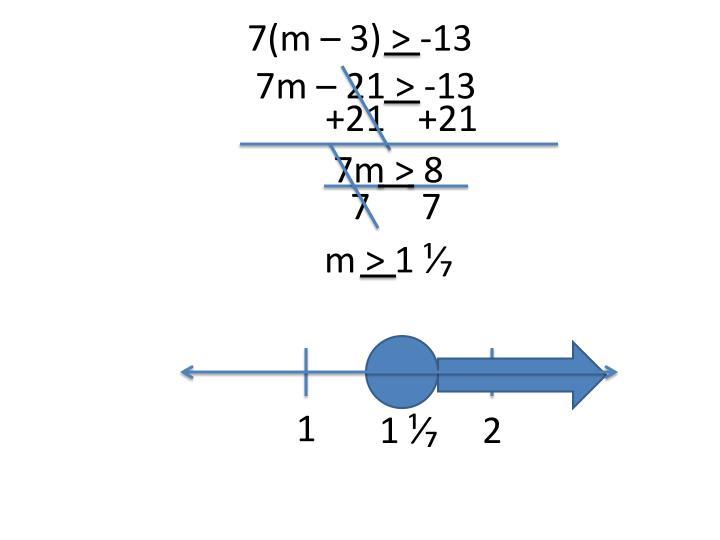 7(m – 3) > -13