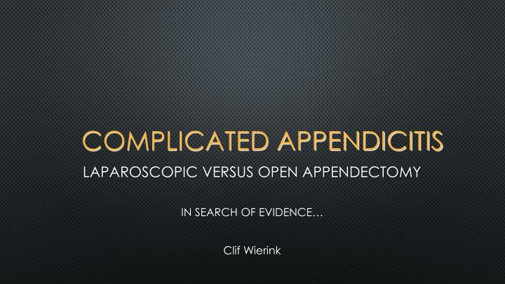 Complicated appendicitis