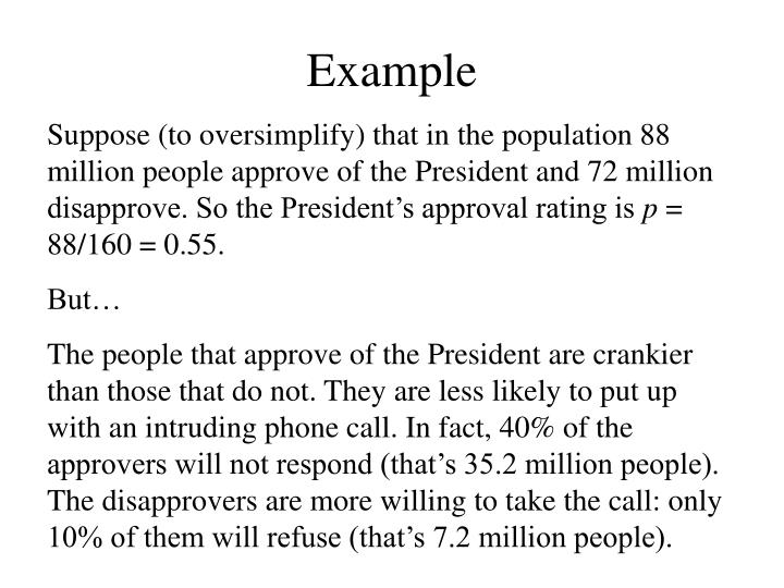 Suppose (to oversimplify) that in the population 88 million people approve of the President and 72 million disapprove. So the President's approval rating is