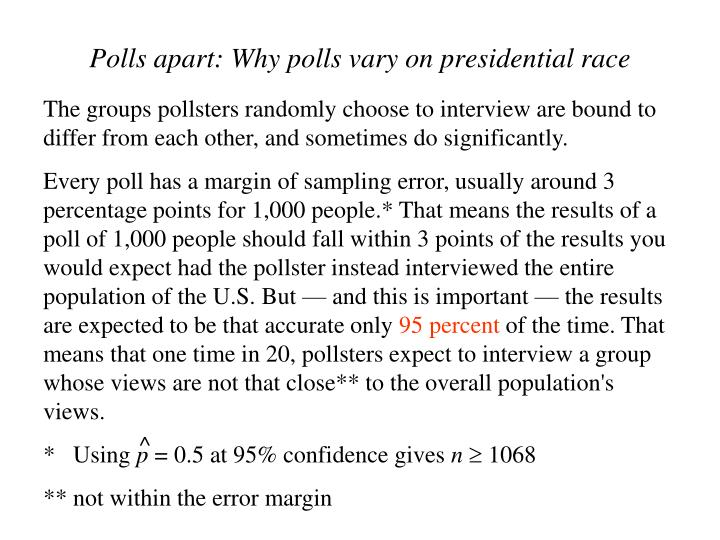 The groups pollsters randomly choose to interview are bound to differ from each other, and sometimes do significantly.