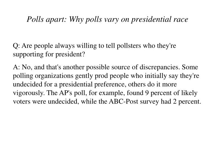 Q: Are people always willing to tell pollsters who they're supporting for president?