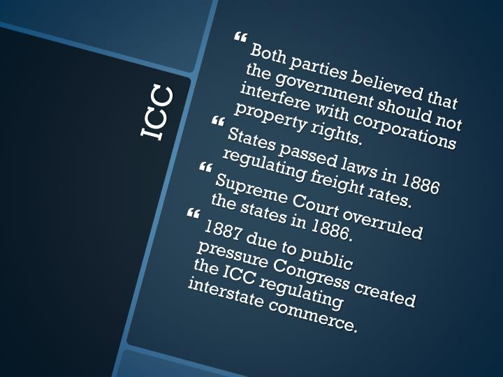 Both parties believed that the government should not interfere with corporations property rights.