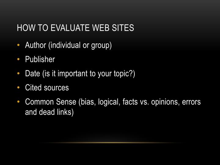 How to evaluate web sites