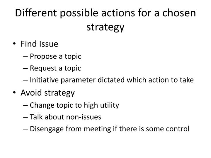 Different possible actions for a chosen strategy