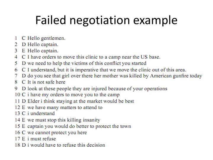 Failed negotiation example