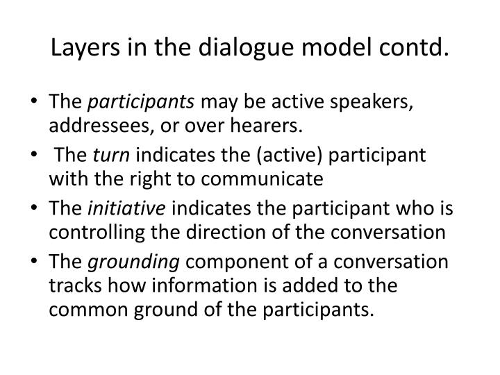 Layers in the dialogue model contd.